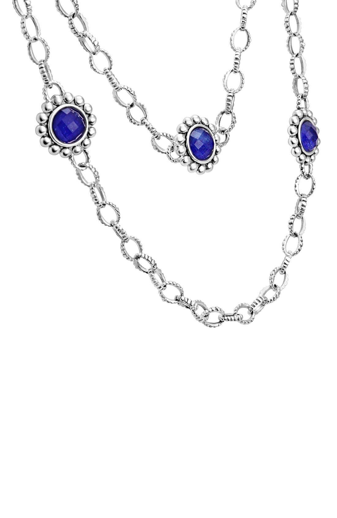 'Maya' Long Station Necklace,                             Alternate thumbnail 4, color,                             Lapis