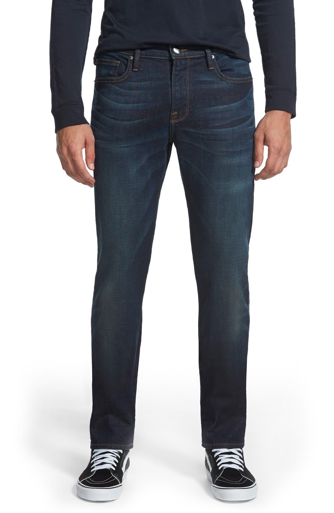 frame l 39 homme sierra skinny denim jeans dark blue modesens. Black Bedroom Furniture Sets. Home Design Ideas
