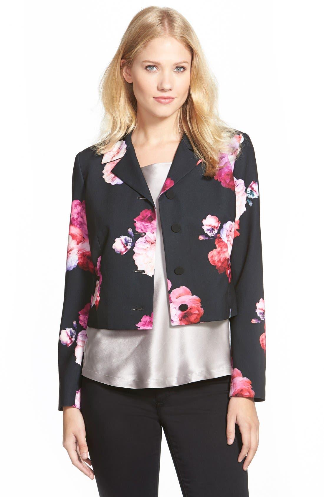 Floral Print Crop Jacket,                         Main,                         color, Black Multi