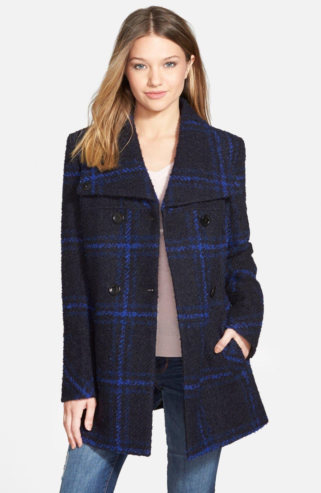Plaid A-Line Jacket,                         Main,                         color, Blue