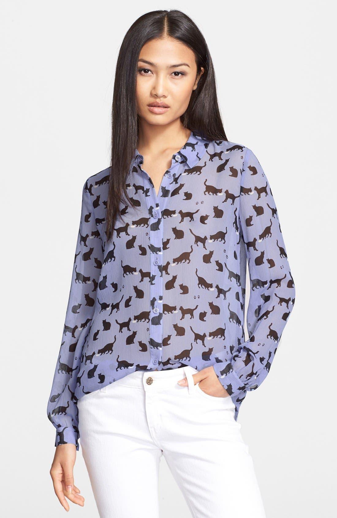 Main Image - kate spade new york 'cats and cream' silk chiffon shirt