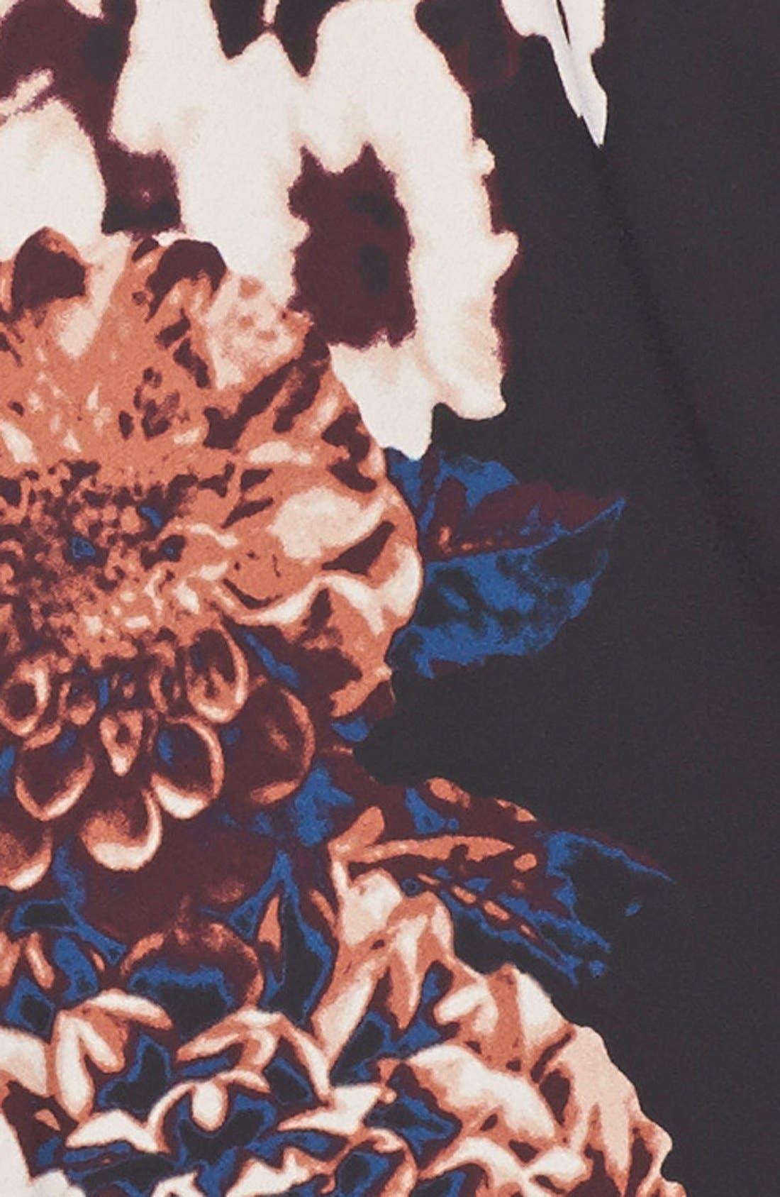 Print Reversible Kimono,                             Alternate thumbnail 4, color,                             Black/ Floral Print