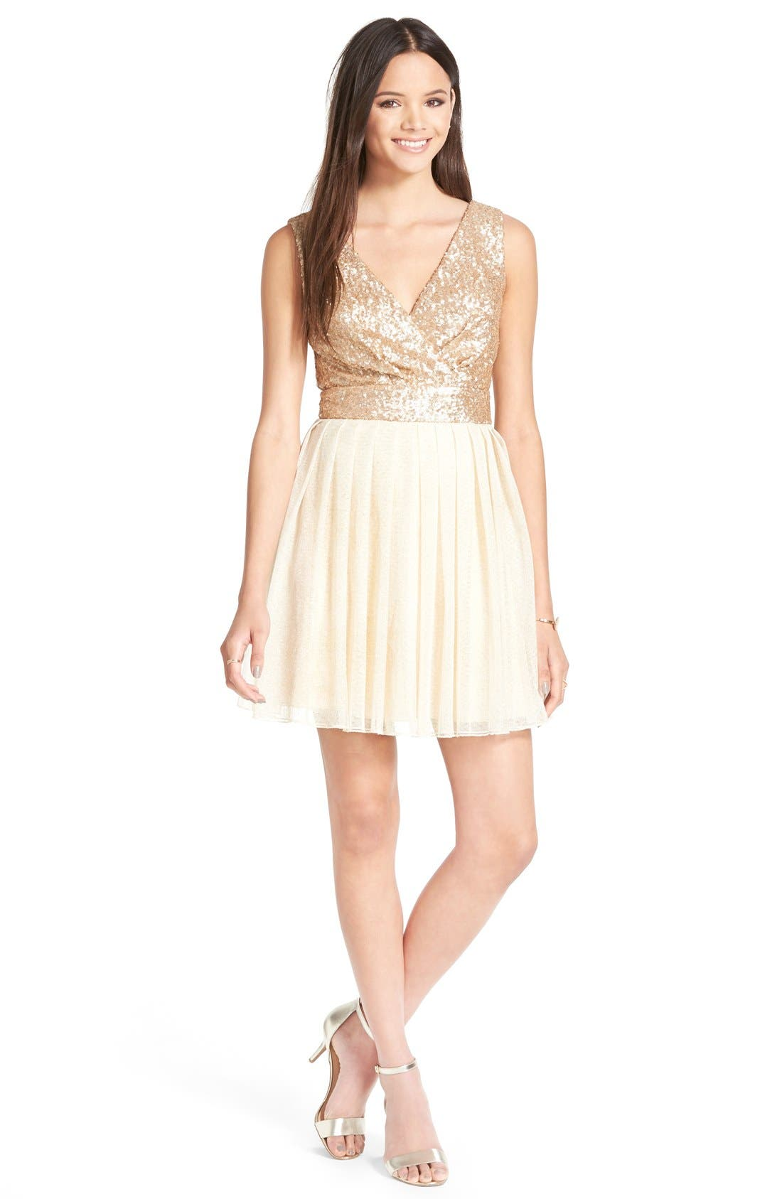 Main Image - Speechless Sequin Bodice Skater Dress