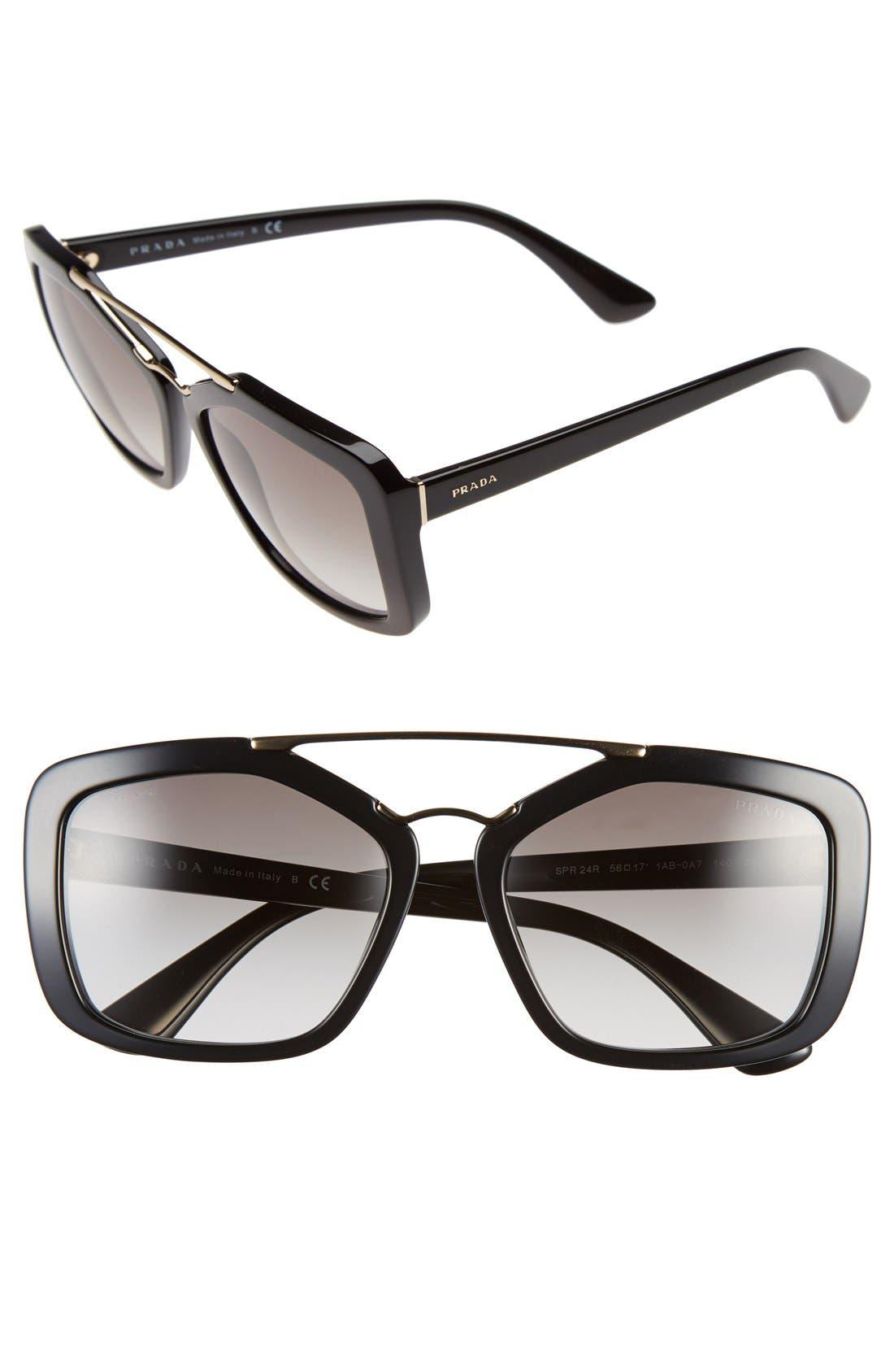 56mm Angular Sunglasses,                             Main thumbnail 1, color,                             Black