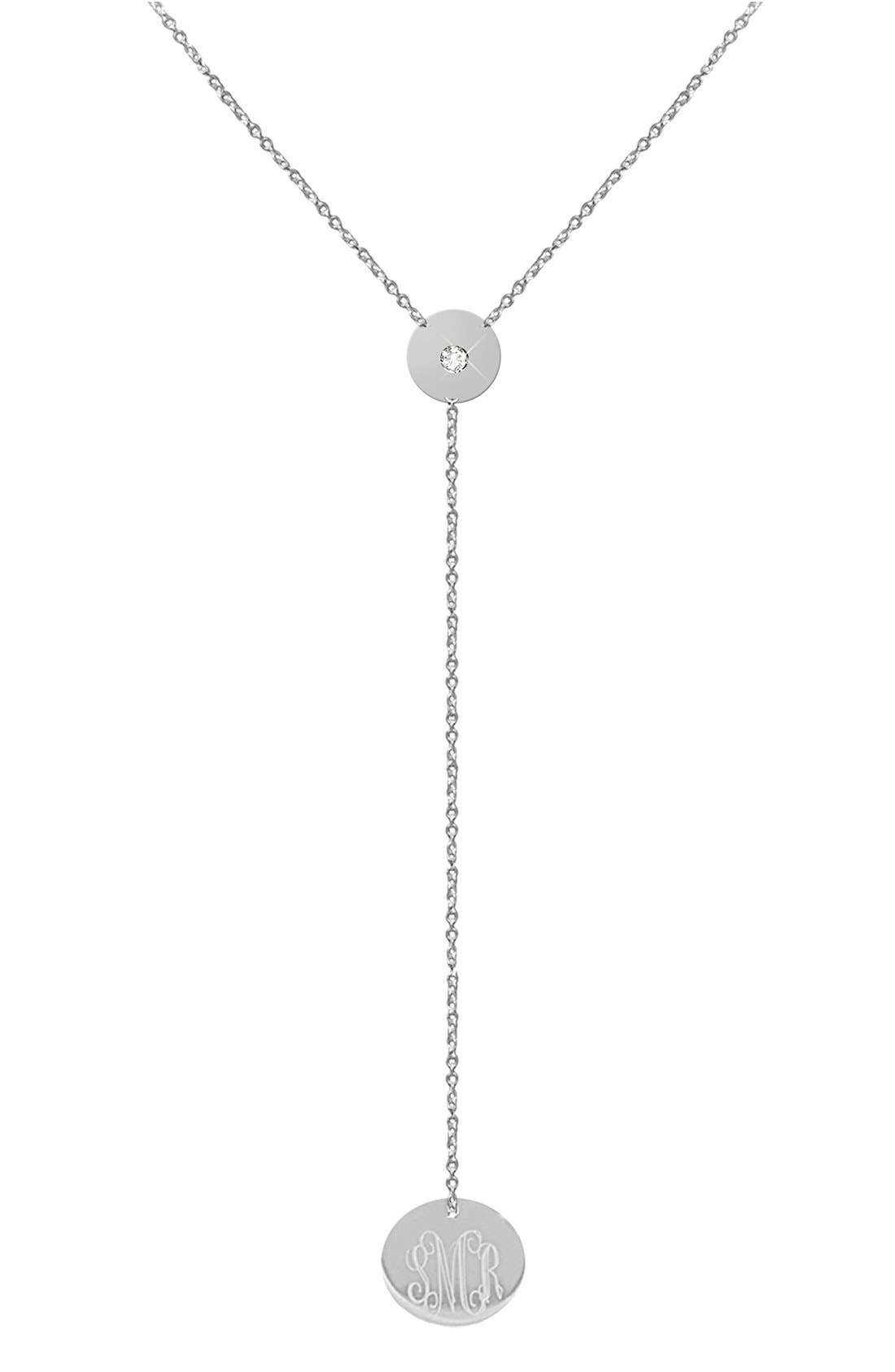 Main Image - Jane Basch Designs Diamond & Personalized Monogram Y-Necklace (Nordstrom Online Exclusive)