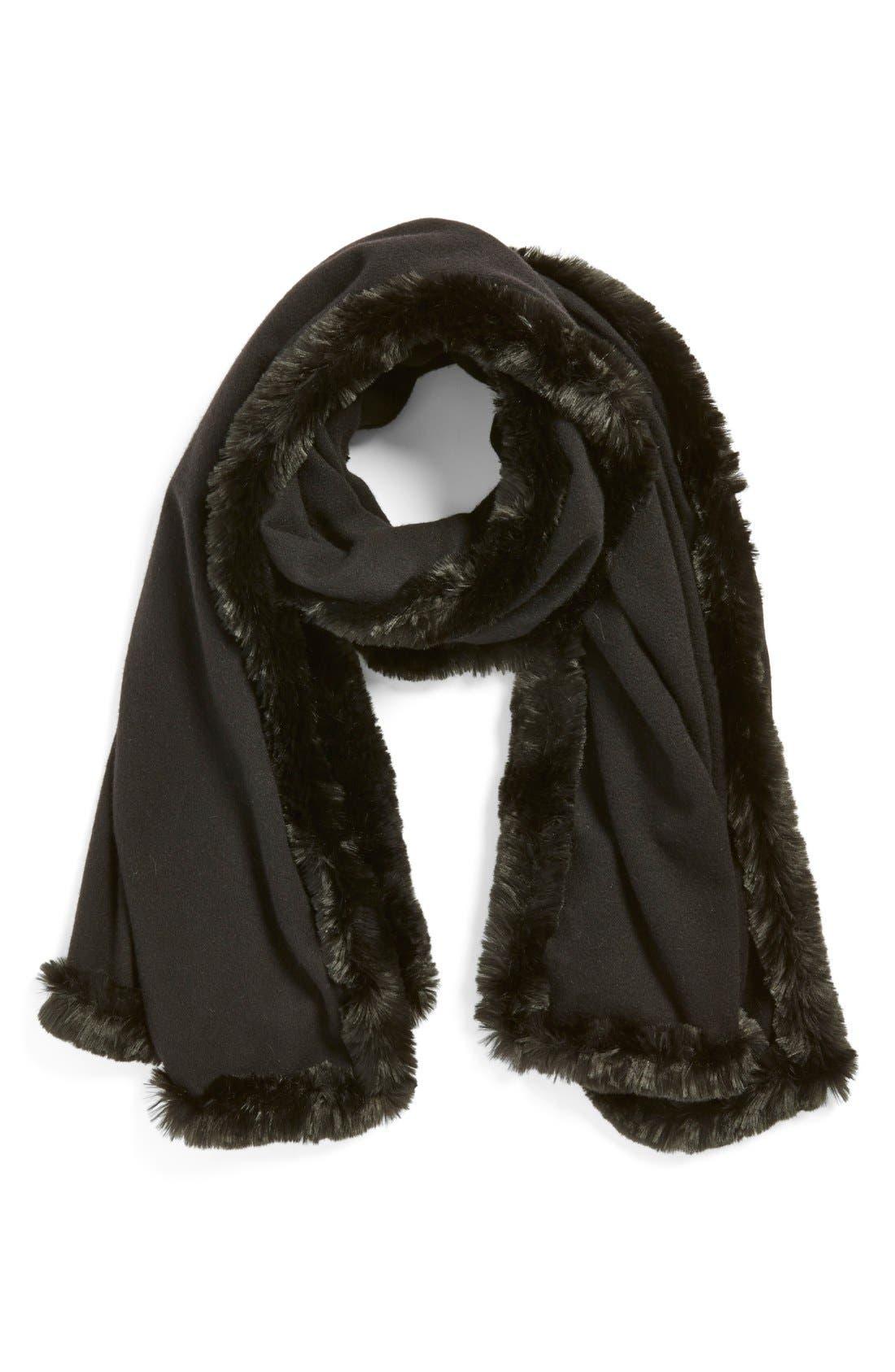 Faux Fur Trim Wrap,                         Main,                         color, Black