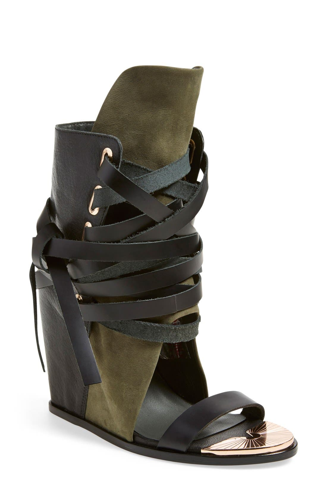 'Mount' Wedge Sandal,                             Main thumbnail 1, color,                             Black/ Cargo