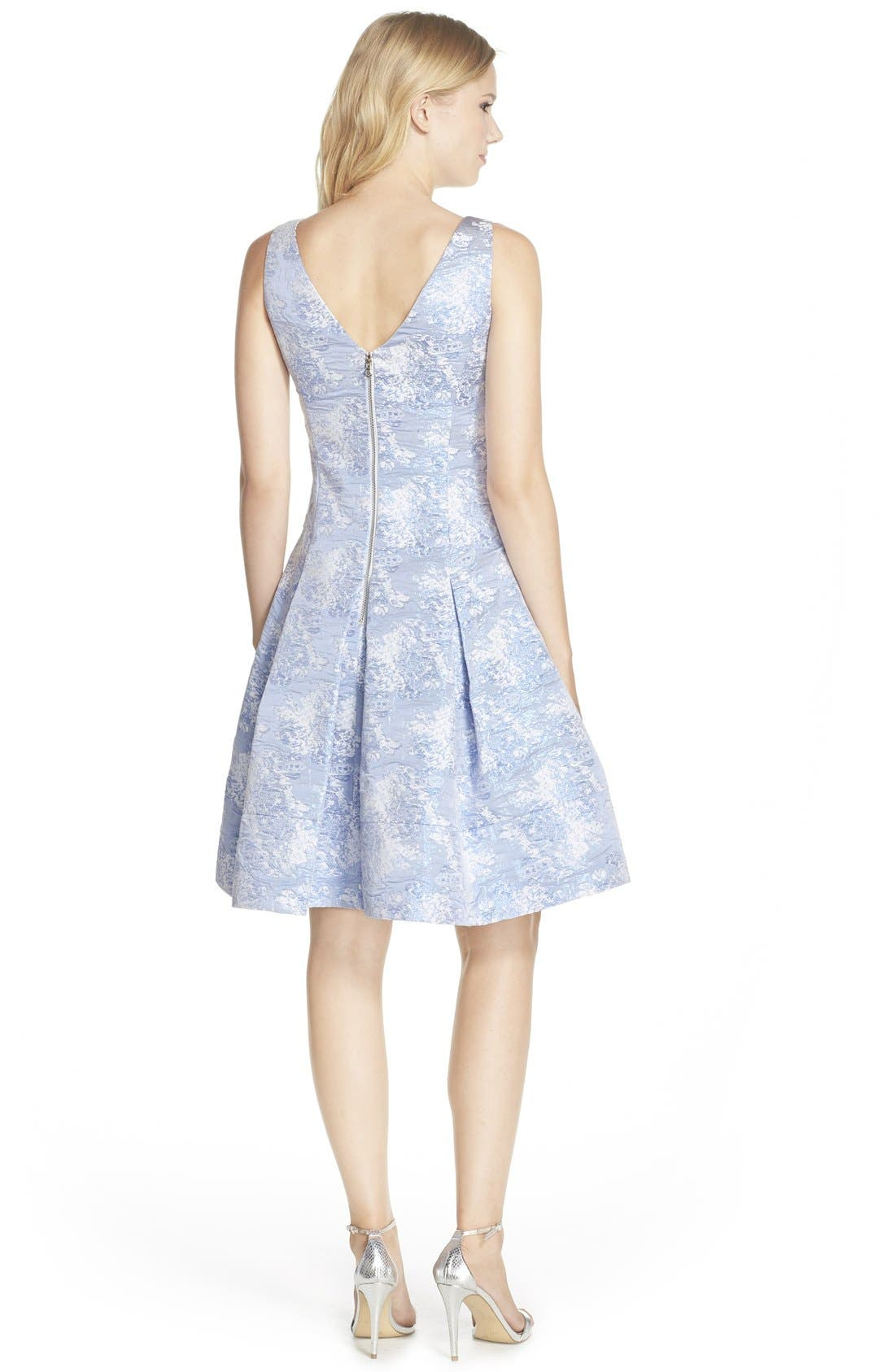 Alternate Image 2  - Vera Wang Jacquard Fit & Flare Dress