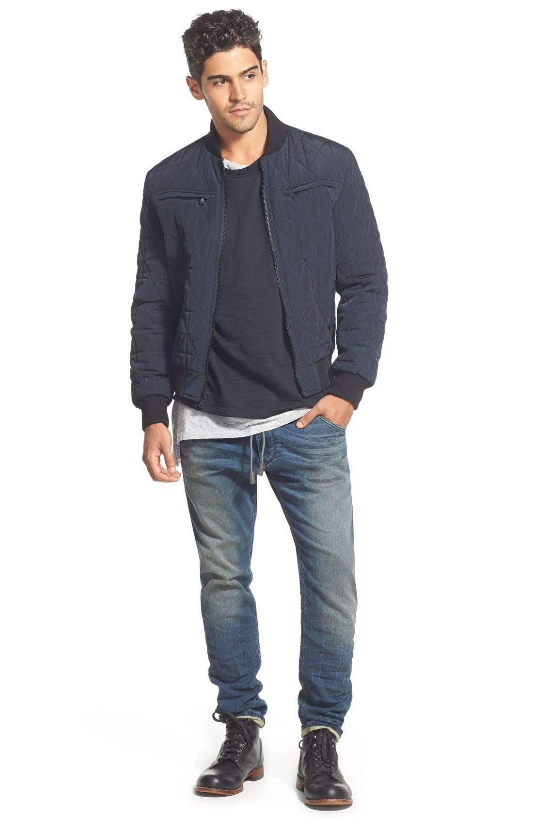 Diamond Quilted Zip Front Jacket,                             Alternate thumbnail 4, color,                             Midnight Blue