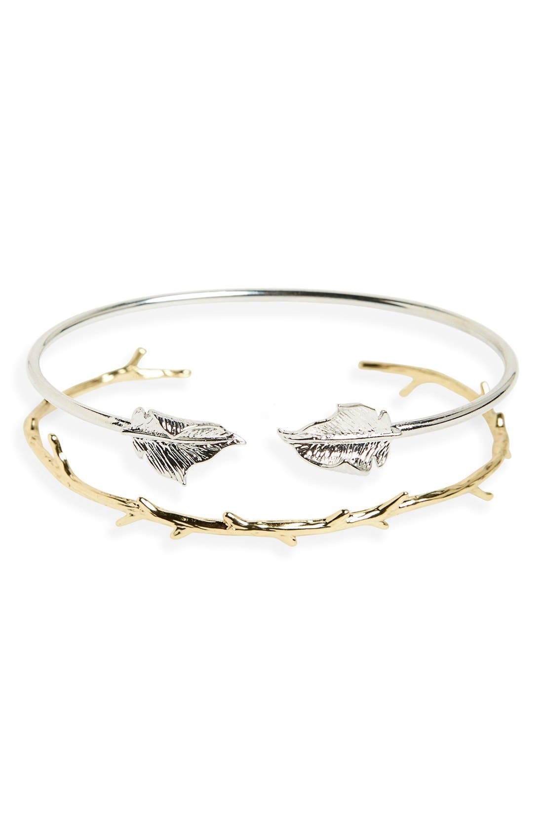 Alternate Image 1 Selected - Sole Society Leaf & Thorn Cuffs (Set of 2)