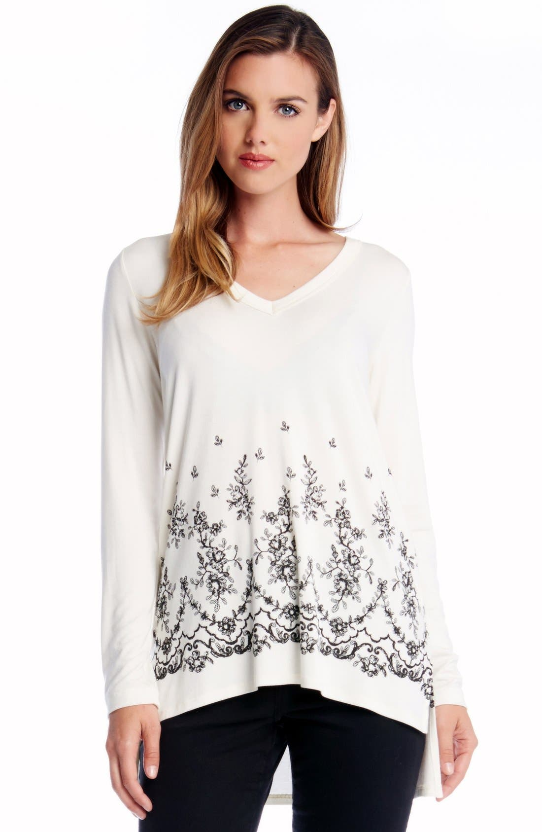 Alternate Image 1 Selected - Karen Kane Lace Print V-Neck Tunic