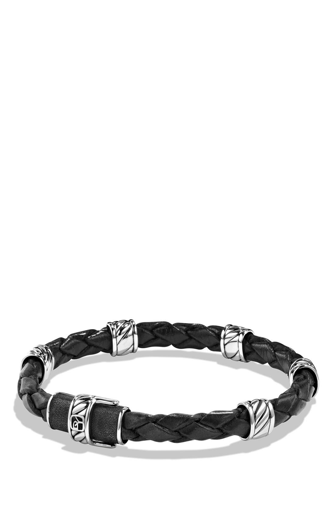'Cable Classics' Leather Station Bracelet in Brown,                         Main,                         color, Black