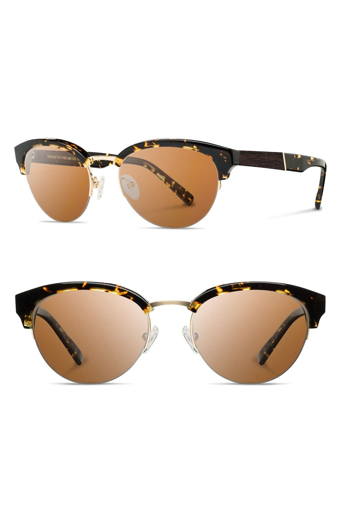 'Hayden' 53mm Acetate & Wood Sunglasses,                         Main,                         color, Dark Speckle/ Gold/ Brown