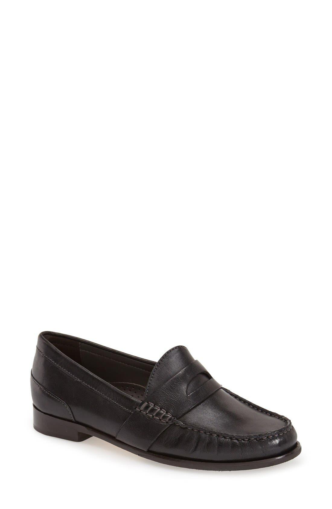 'Laurel' Moc Loafer,                             Main thumbnail 1, color,                             Black Leather