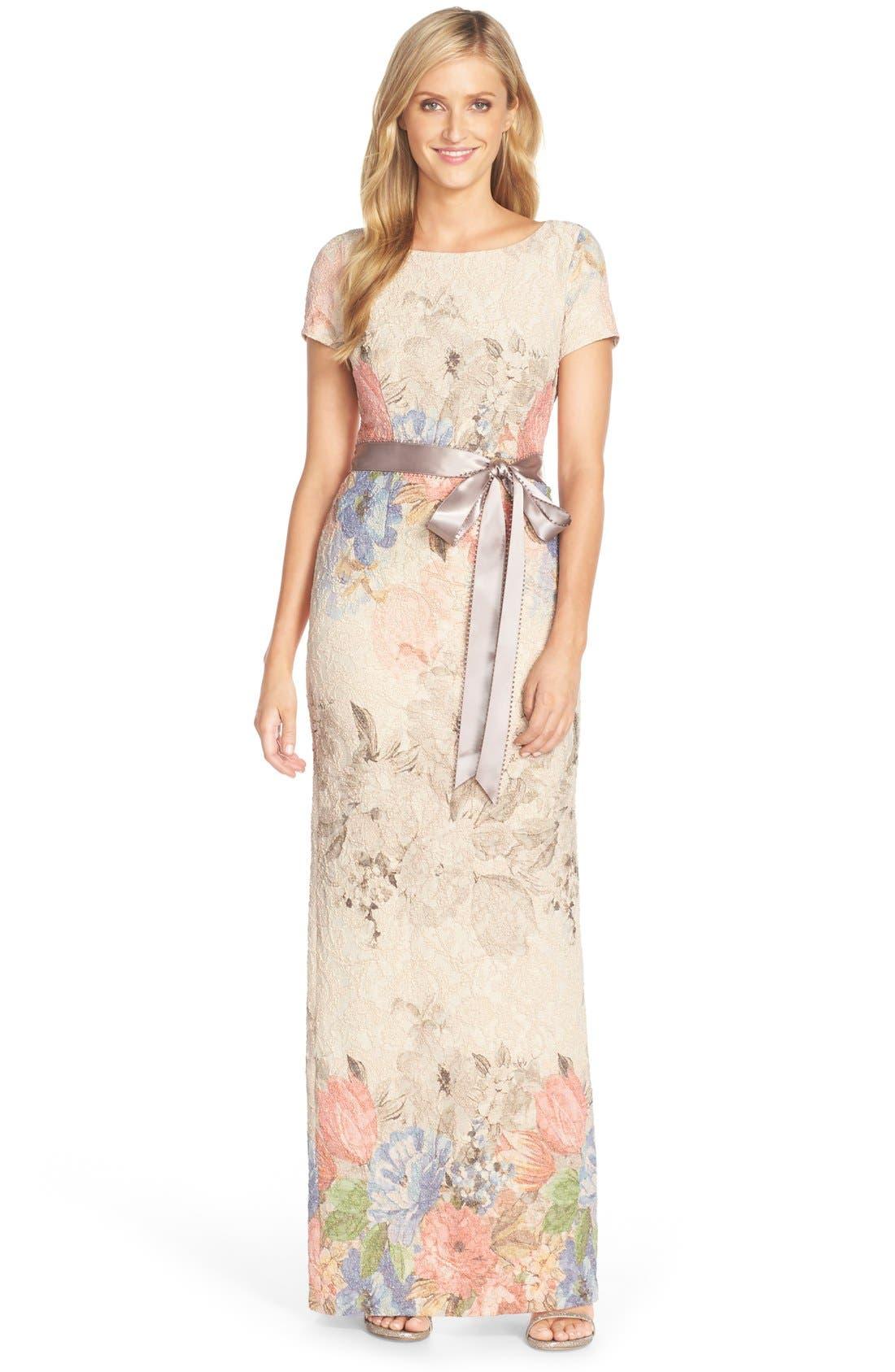 ADRIANNA PAPELL Matelassé Floral Jacquard Column Gown