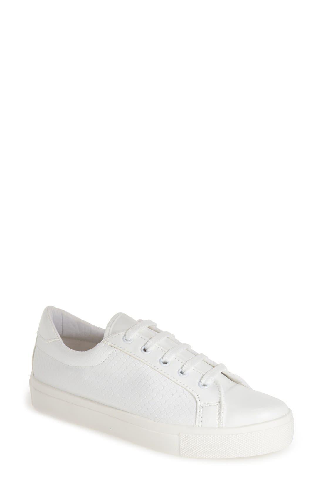 'Copenhagen' Lizard Embossed Faux Leather Sneaker,                             Main thumbnail 1, color,                             White