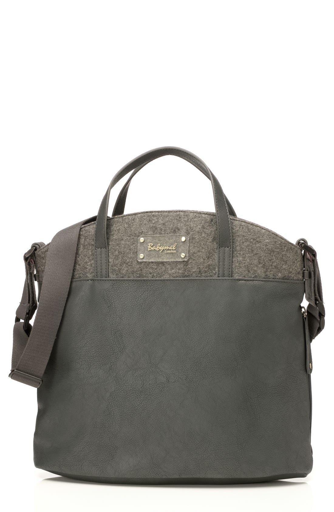 'Grace' Diaper Bag,                         Main,                         color, Grey