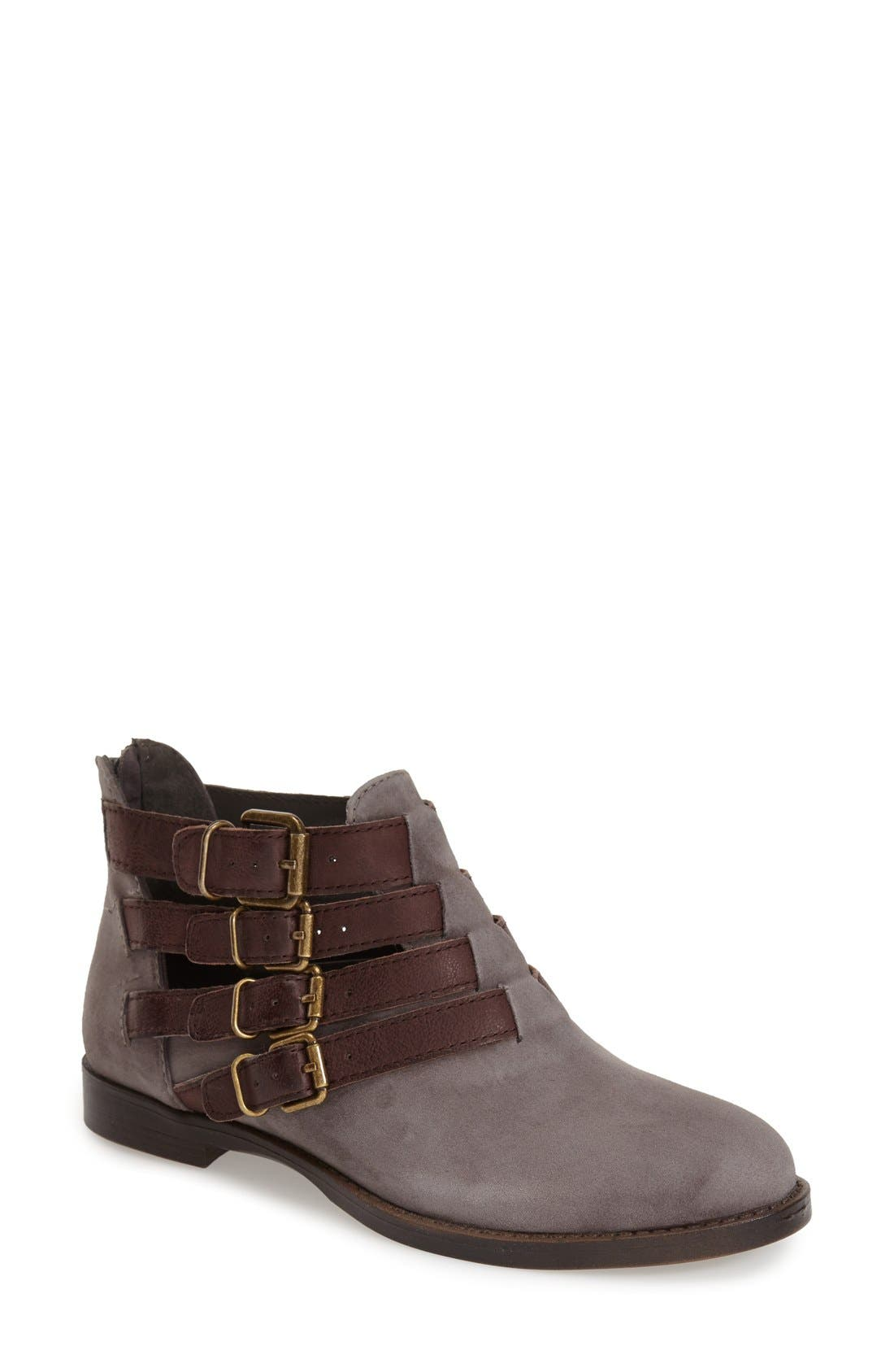 'Ronan' Buckle Leather Bootie,                             Main thumbnail 1, color,                             Grey Suede/ Chestnut