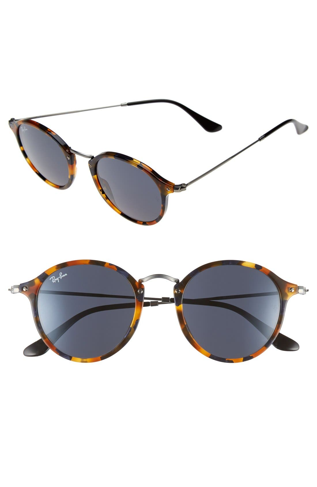 49mm Retro Sunglasses,                         Main,                         color, Spotted Blue Havana/ Grey