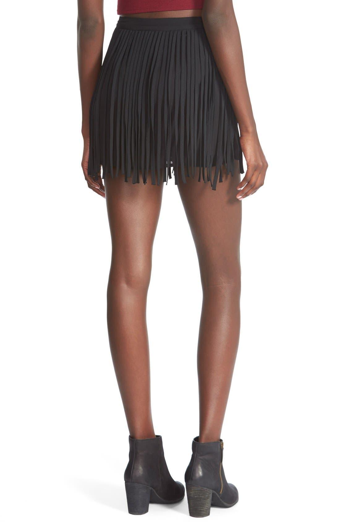 Alternate Image 2  - On Twelfth Fringe Miniskirt (Juniors)