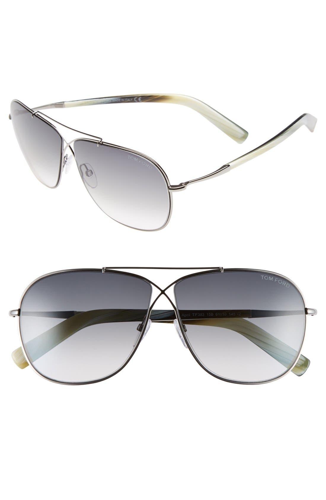 'April' 61mm Retro Sunglasses,                             Main thumbnail 1, color,                             Ruthenium/ Gradient Smoke