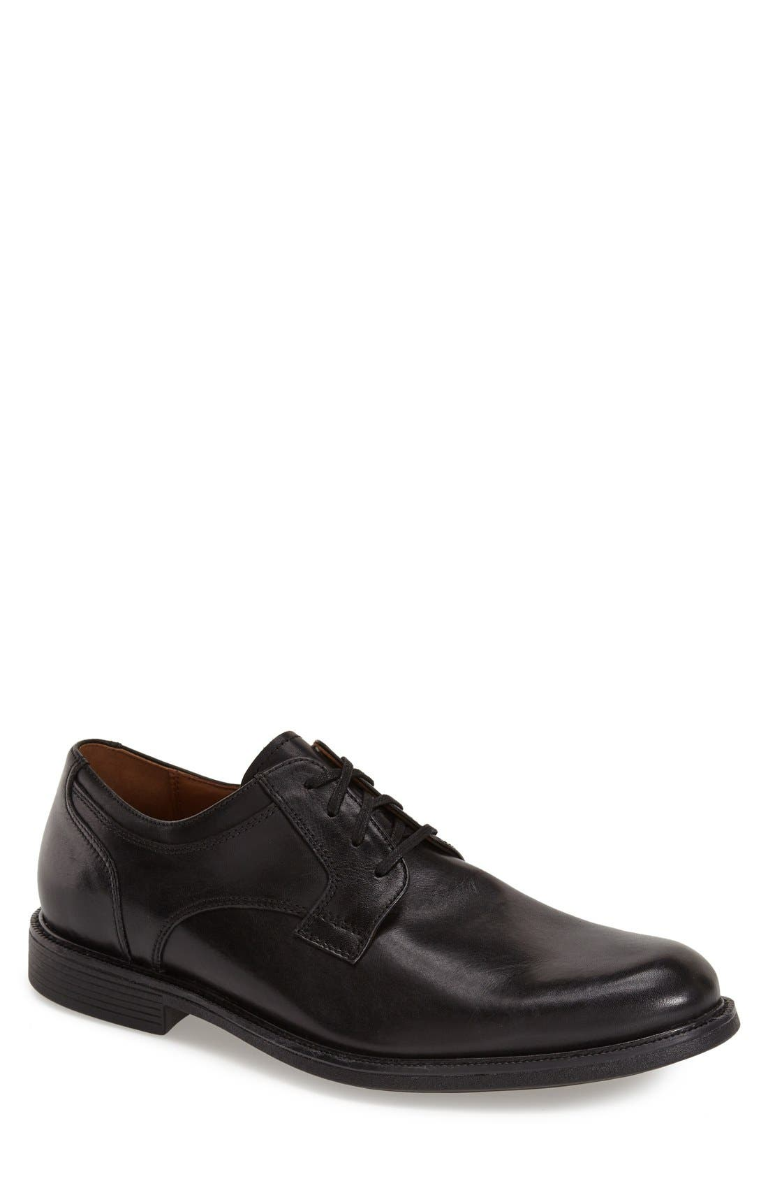 'Cardell' Plain Toe Derby,                             Main thumbnail 1, color,                             Black Leather