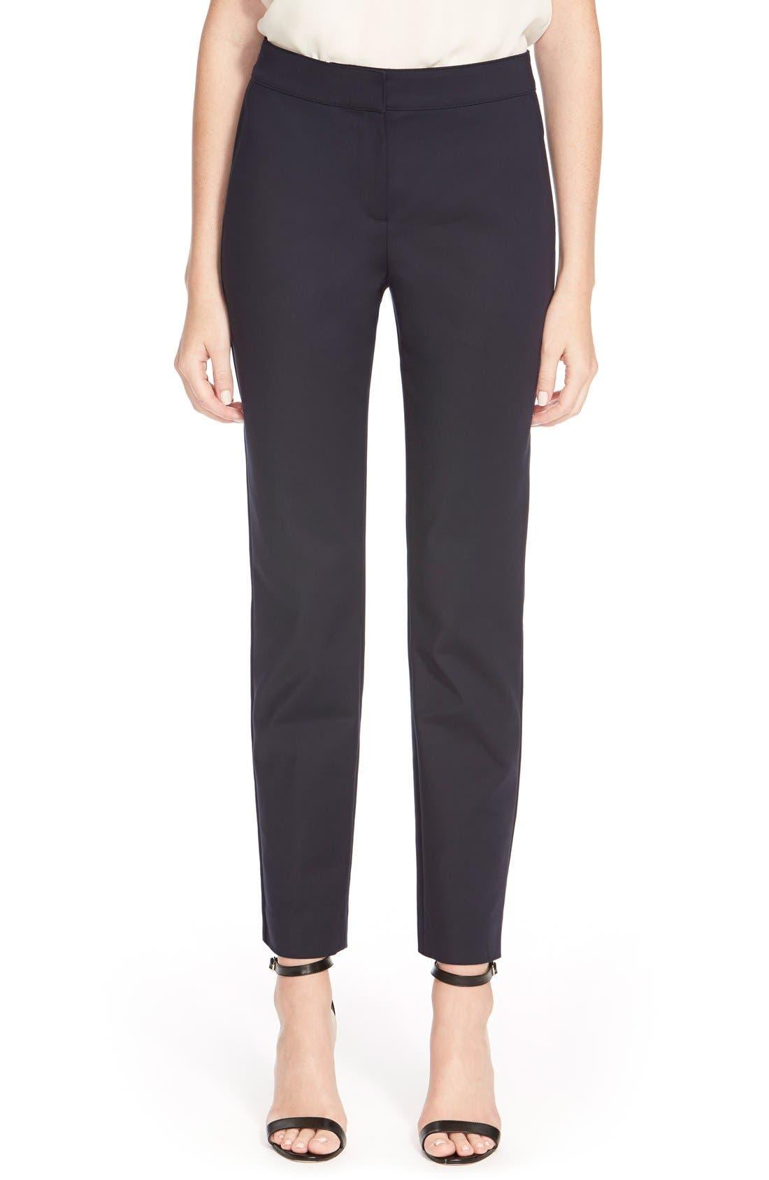 'Emma' Crop Micro Ottoman Pants,                         Main,                         color, Navy