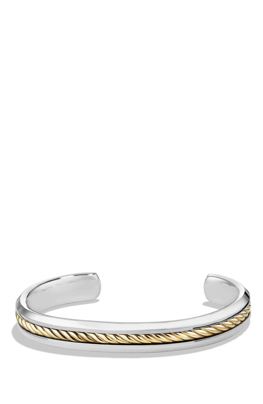 'Cable Classics' Cuff Bracelet with Gold,                             Main thumbnail 1, color,                             Two Tone