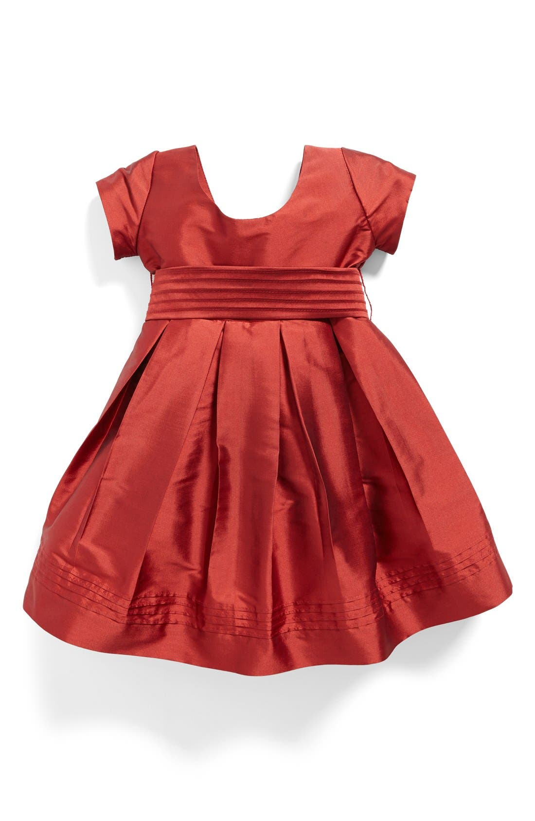 Cap Sleeve Taffeta Dress,                         Main,                         color, Red Taffeta