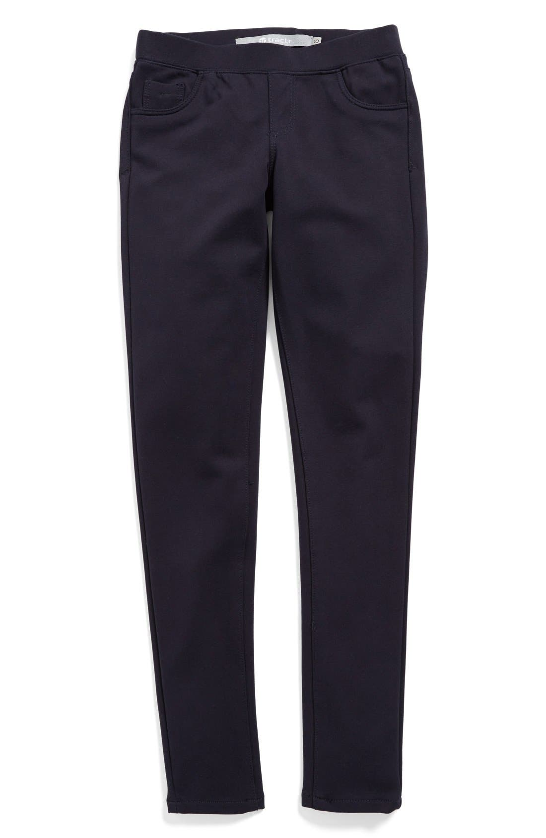 Ponte Knit Skinny Pants,                         Main,                         color, Navy
