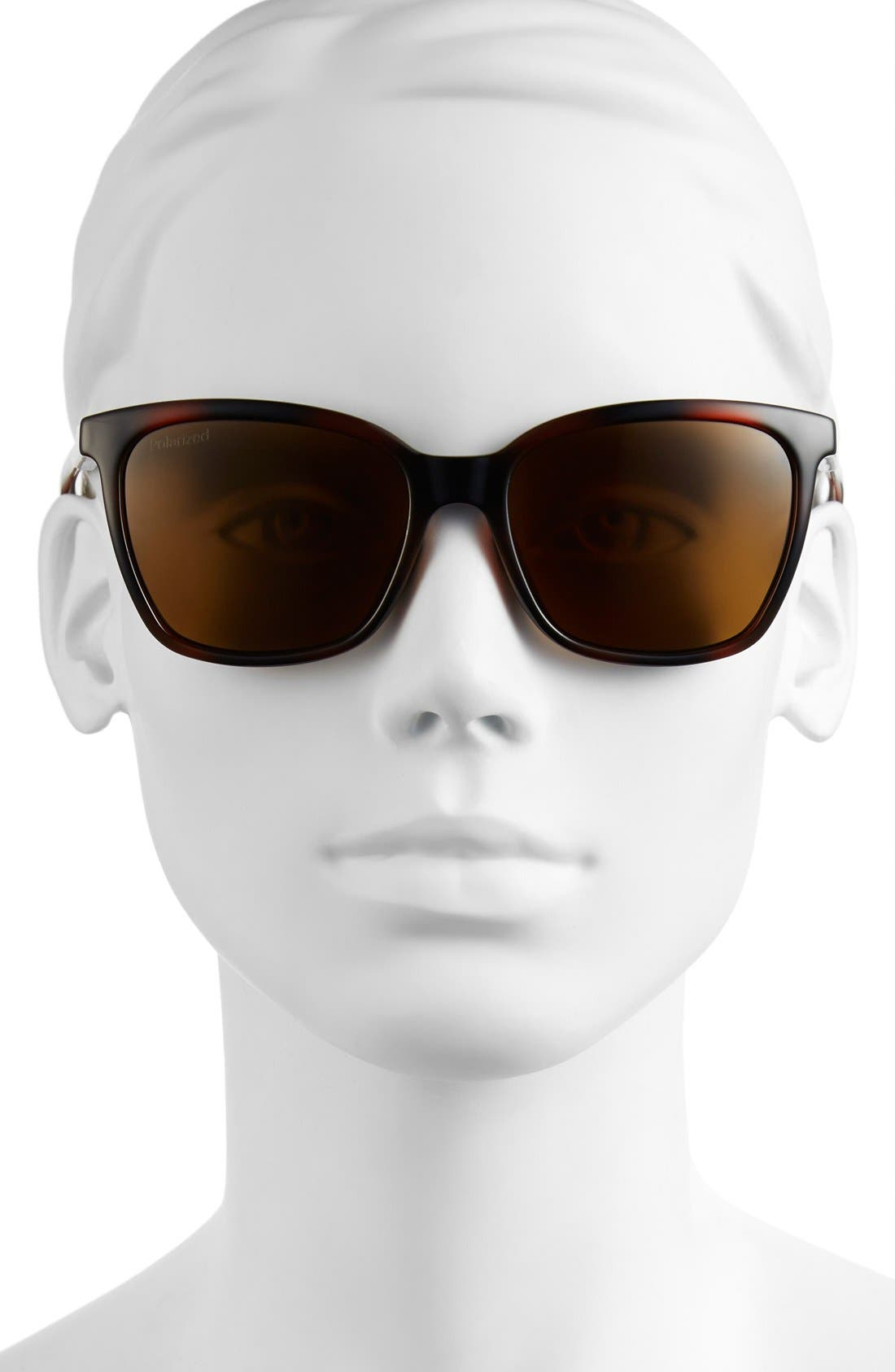'Colette' 55mm Polarized Sunglasses,                             Alternate thumbnail 2, color,                             Tortoise/ Polar Brown