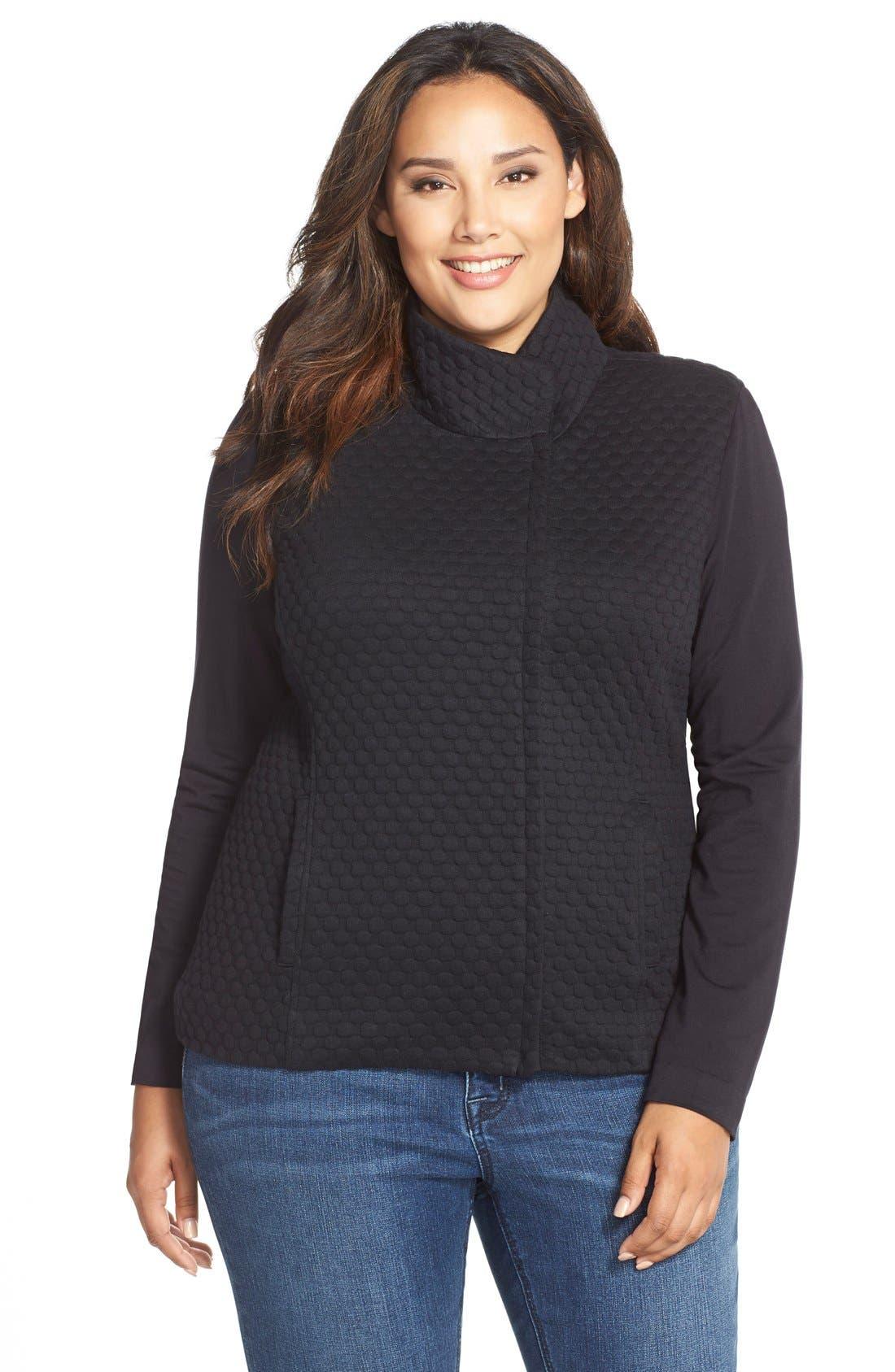 'Bridgette' Textured KnitJacket,                         Main,                         color, Black Bubble