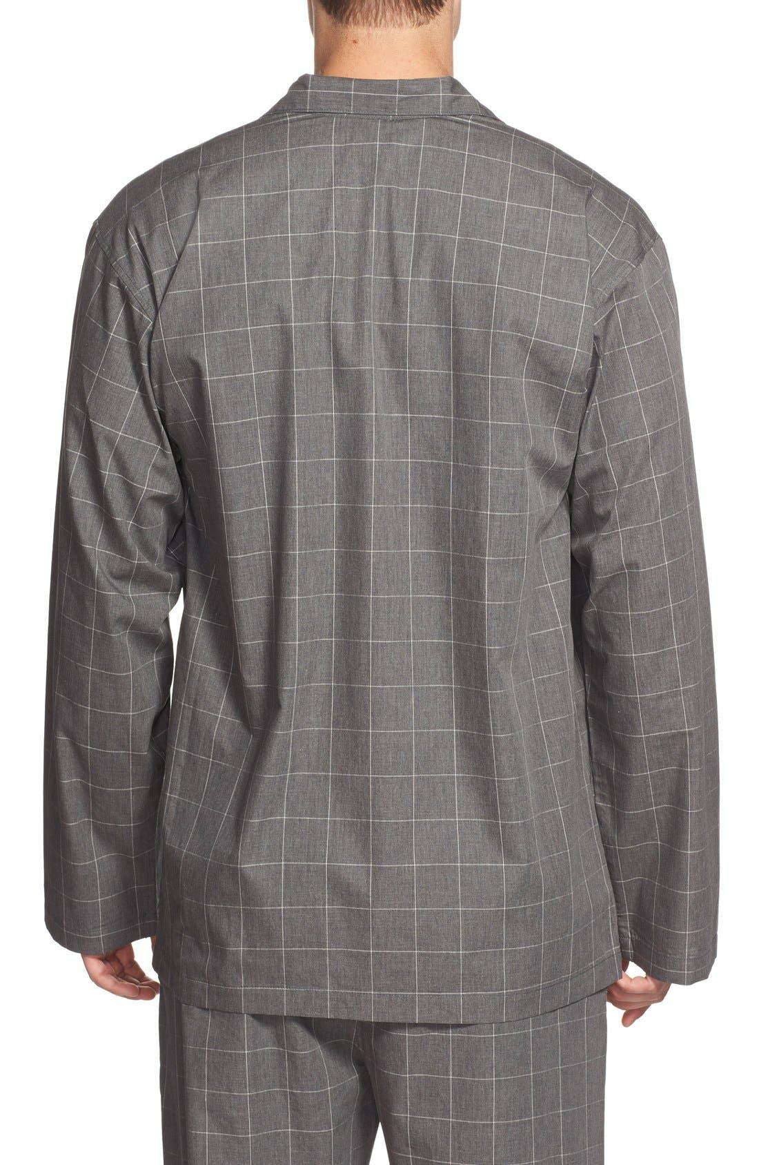 Woven Pajama Top,                             Alternate thumbnail 2, color,                             Charcoal