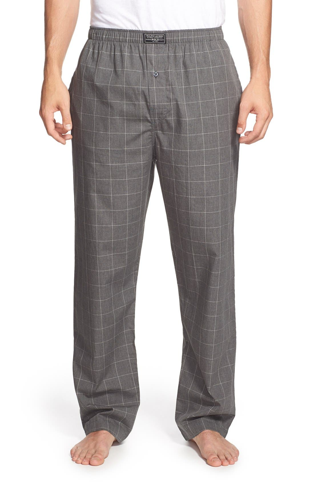 Cotton Pajama Pants,                         Main,                         color, Charcoal