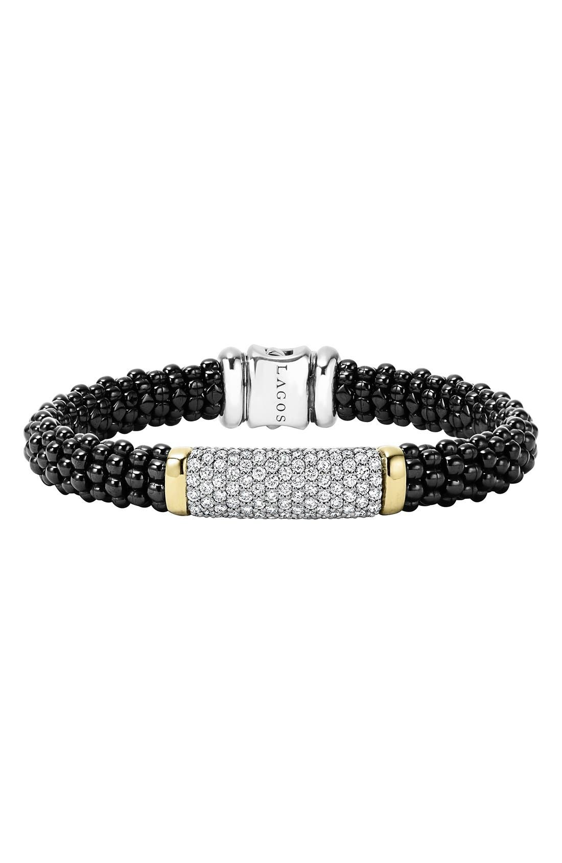 'Black Caviar' Diamond Rope Bracelet,                         Main,                         color, Black Caviar/ Gold