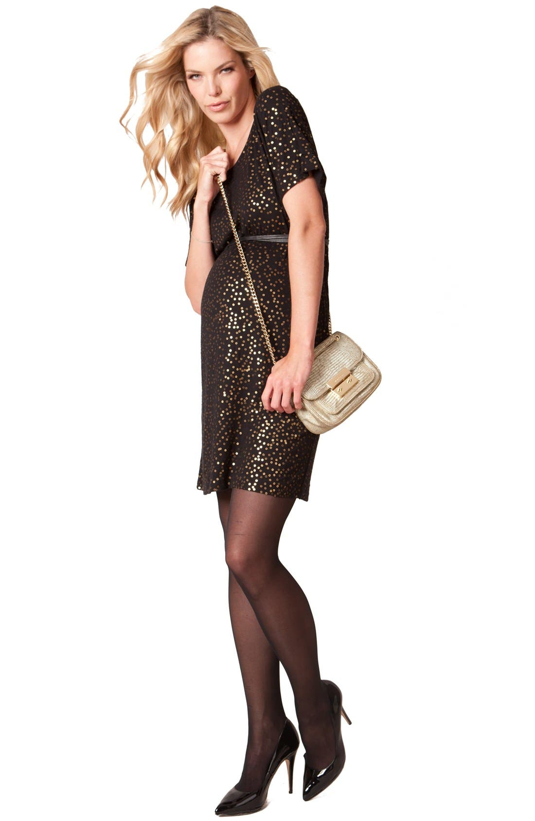 'Luella Luxe' Jersey Maternity Dress,                         Main,                         color, Black/ Gold