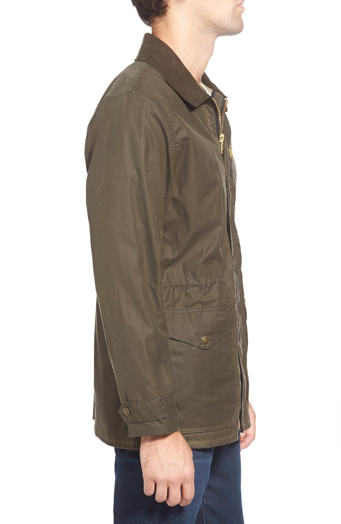 'Cover Cloth Mile Marker' Waxed Cotton Coat,                             Alternate thumbnail 7, color,                             Otter Green