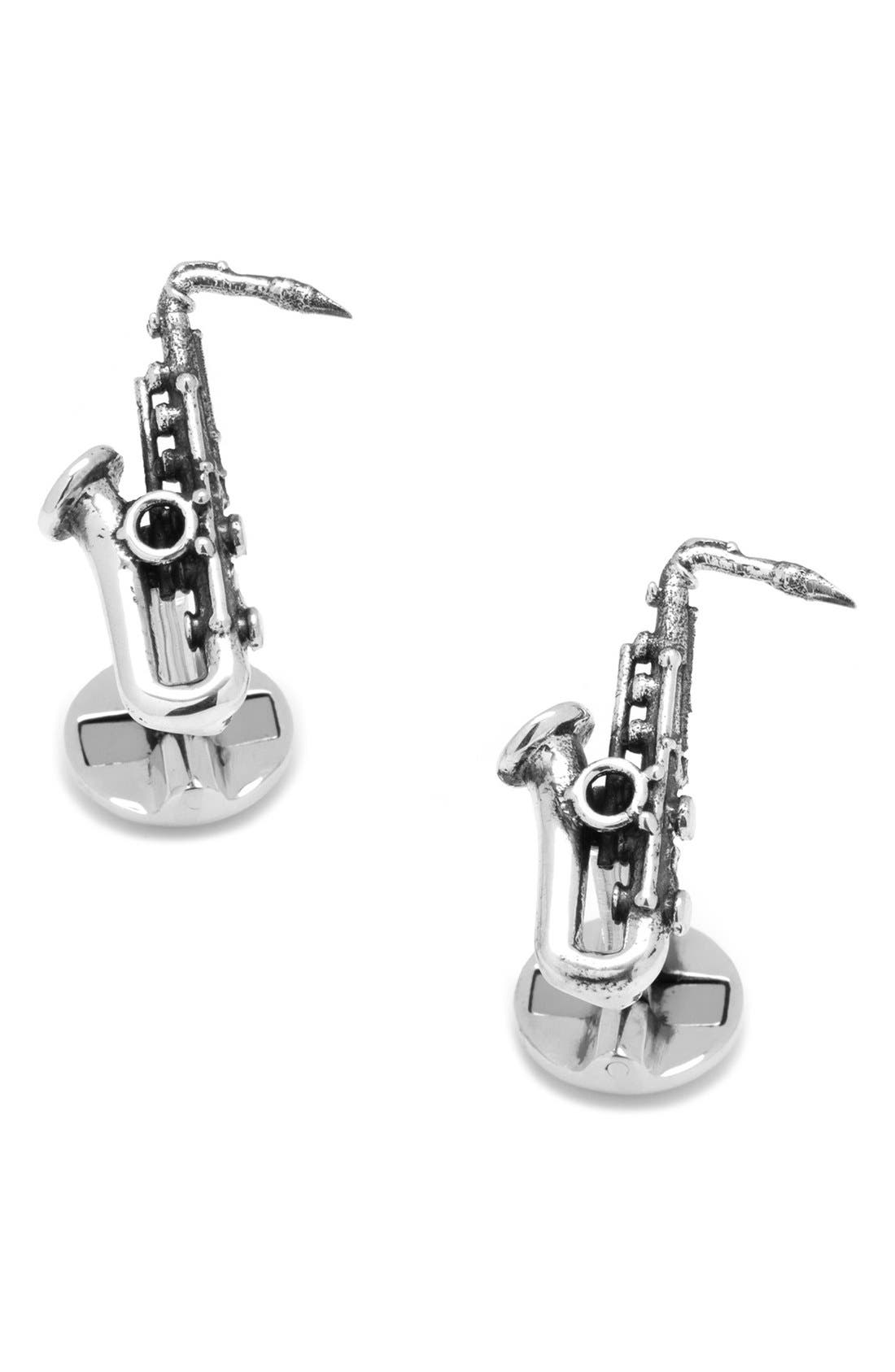 Saxophone Cuff Links,                         Main,                         color, Silver