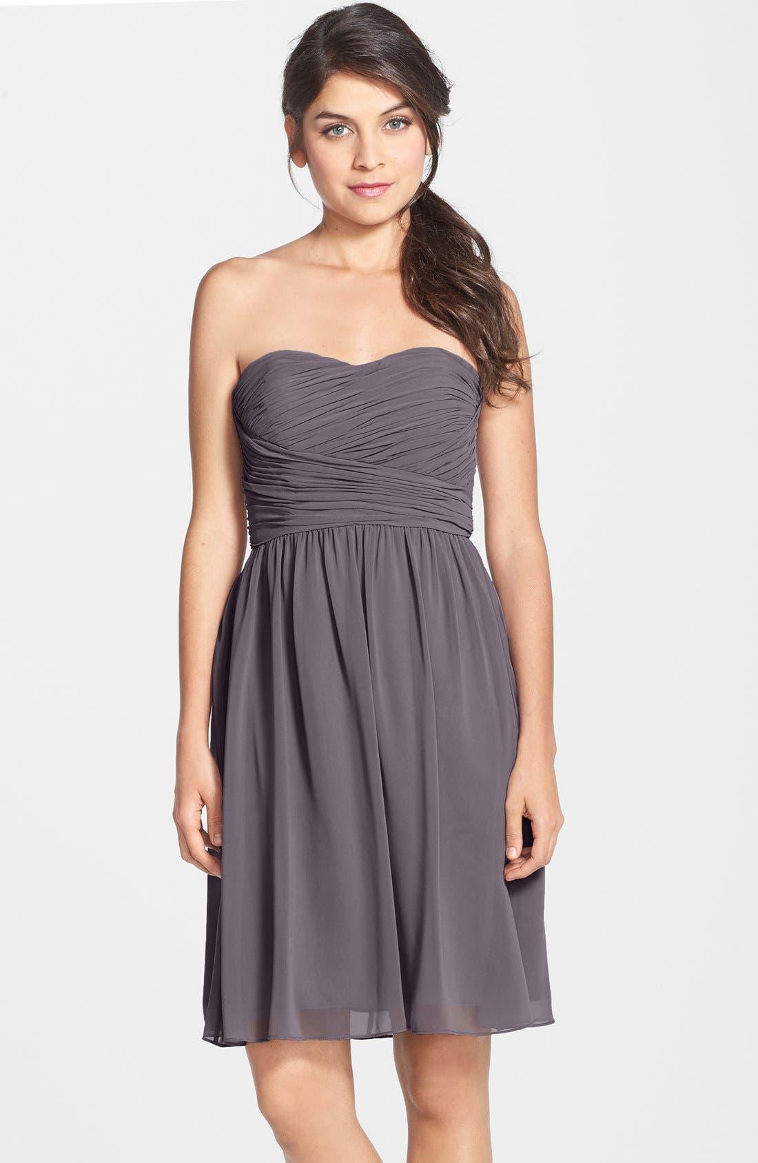 Main Image - Donna Morgan 'Sarah' Strapless Ruched Chiffon Dress