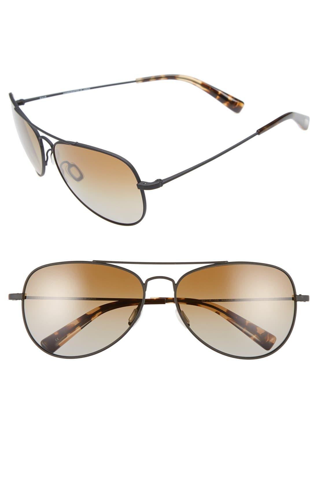 'Warner' 60mm Polarized Sunglasses,                         Main,                         color, Black Sand/ Brown