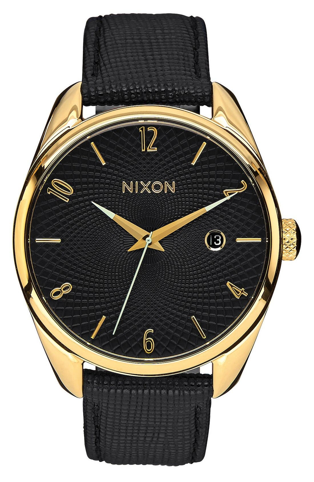 'The Bullet' Leather Strap Watch, 38mm,                             Main thumbnail 1, color,                             Black/ Gold