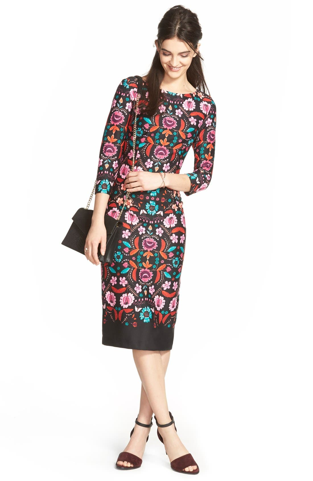 Main Image - Eliza J Floral Print Ponte Sheath Dress (Regular & Petite)
