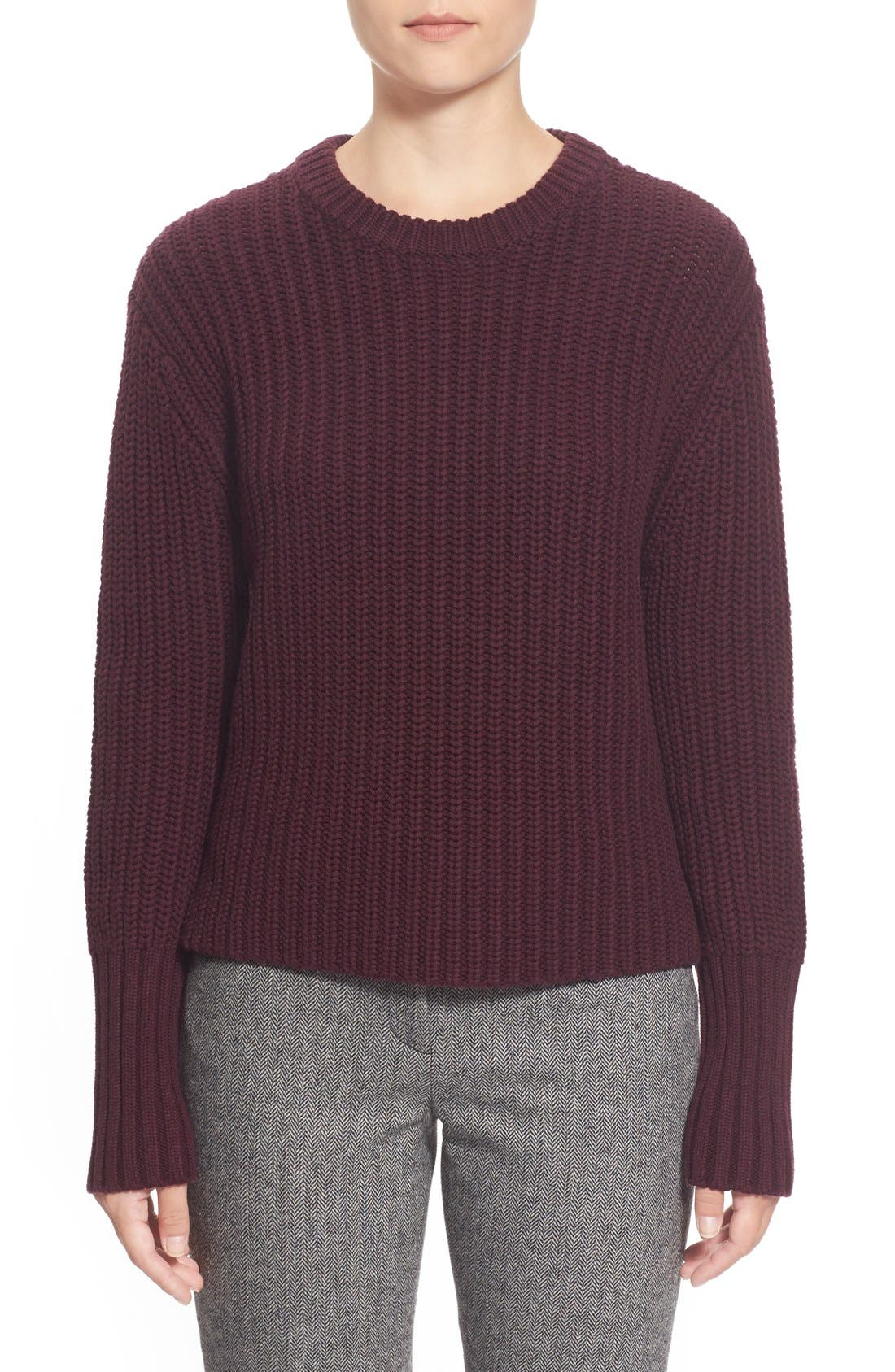 Main Image - Pink Tartan Tubular Cuff Wool & CottonSweater