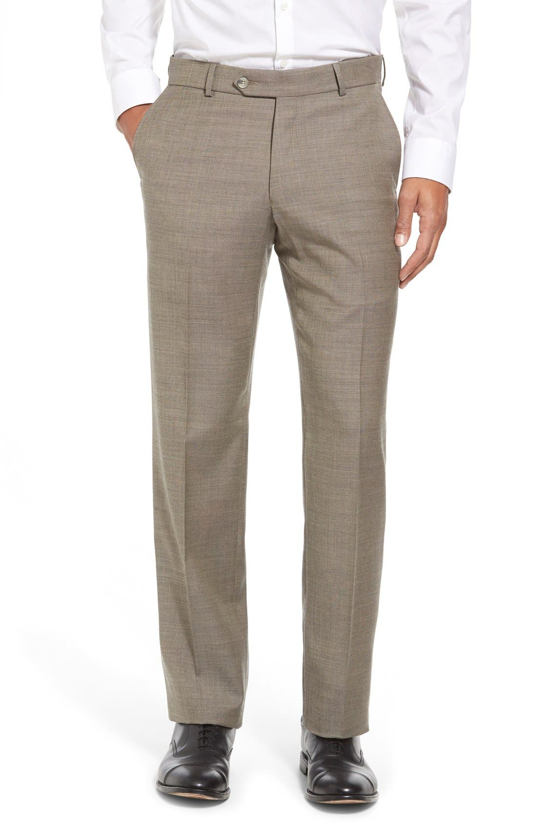 Flat Front Sharkskin Wool Trousers,                         Main,                         color, British Tan