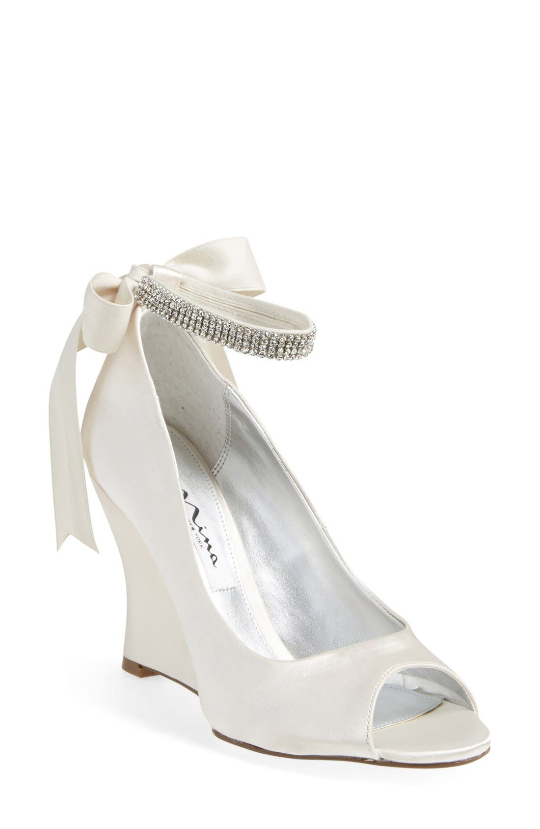 Nina 'Emma' Crystal Embellished Ankle Strap Pump (Online Only)
