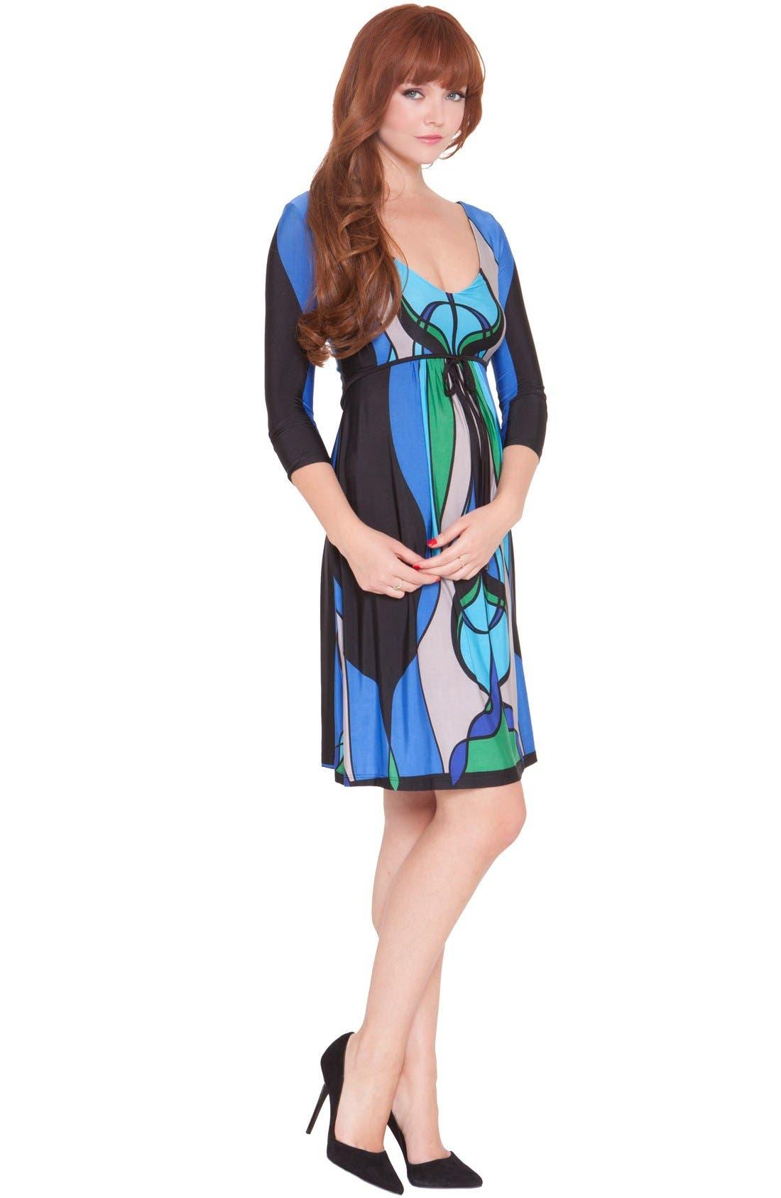 Olian'Allison' Print JerseyMaternity Dress