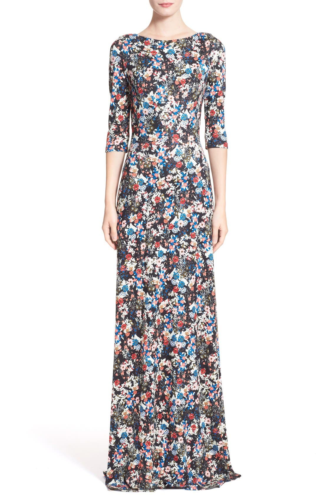 'Valentina' Floral Print JerseyGown,                             Main thumbnail 1, color,                             Pink/ Multi