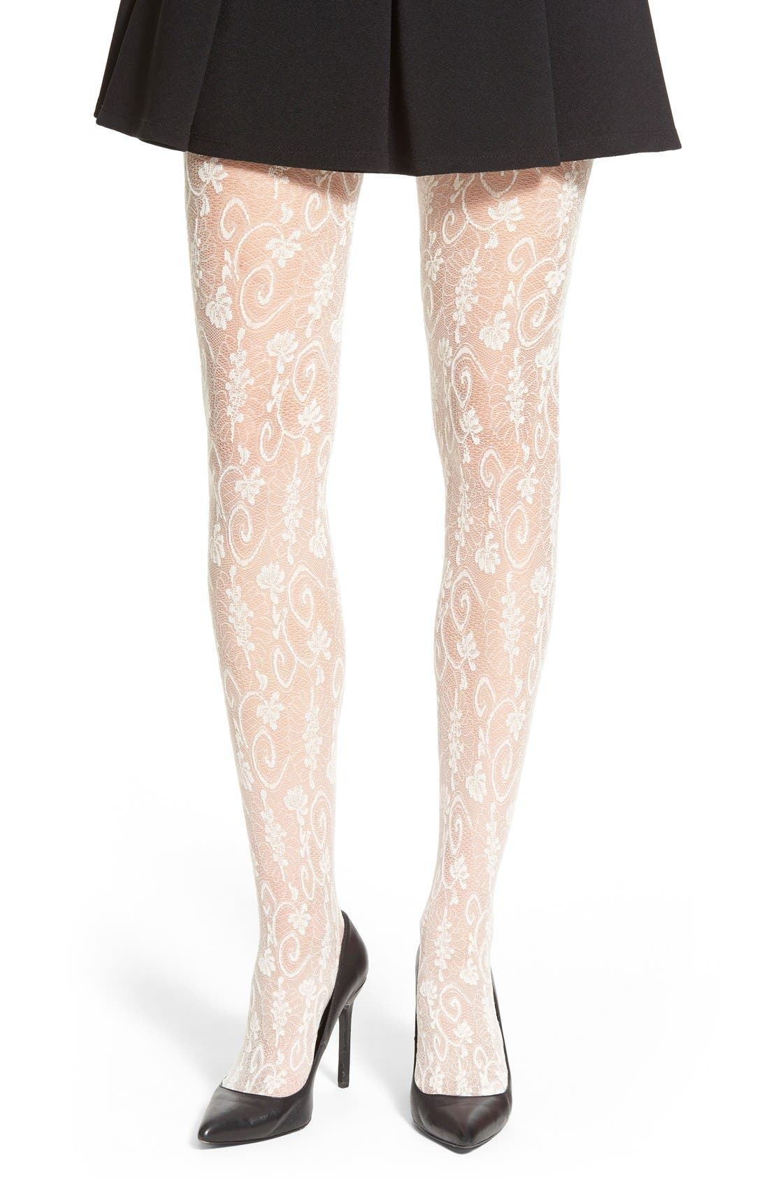 'Estella' Floral Lace Tights,                             Main thumbnail 1, color,                             Wool