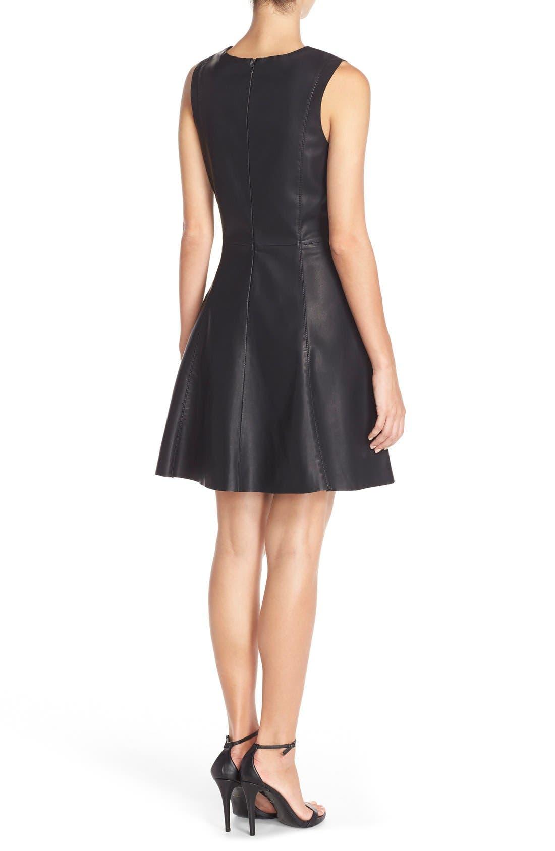 Alternate Image 2  - BB Dakota FauxLeather Fit & Flare Dress
