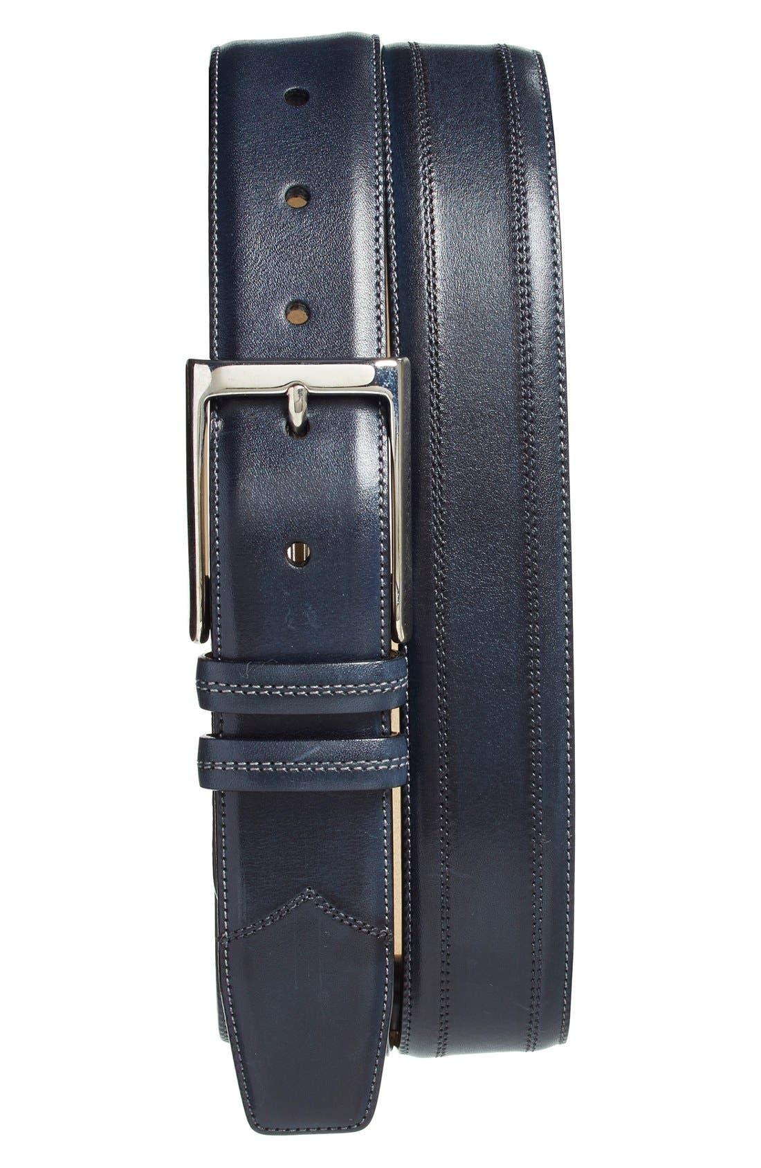 Leather Belt,                             Main thumbnail 1, color,                             Blue
